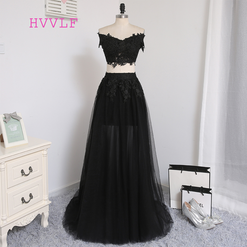 Sexy Two Pieces 2019 A-line V-neck Cap Sleeves Tulle Lace Slit Long Women   Prom     Dresses     Prom   Gown Evening   Dresses   Evening Gown