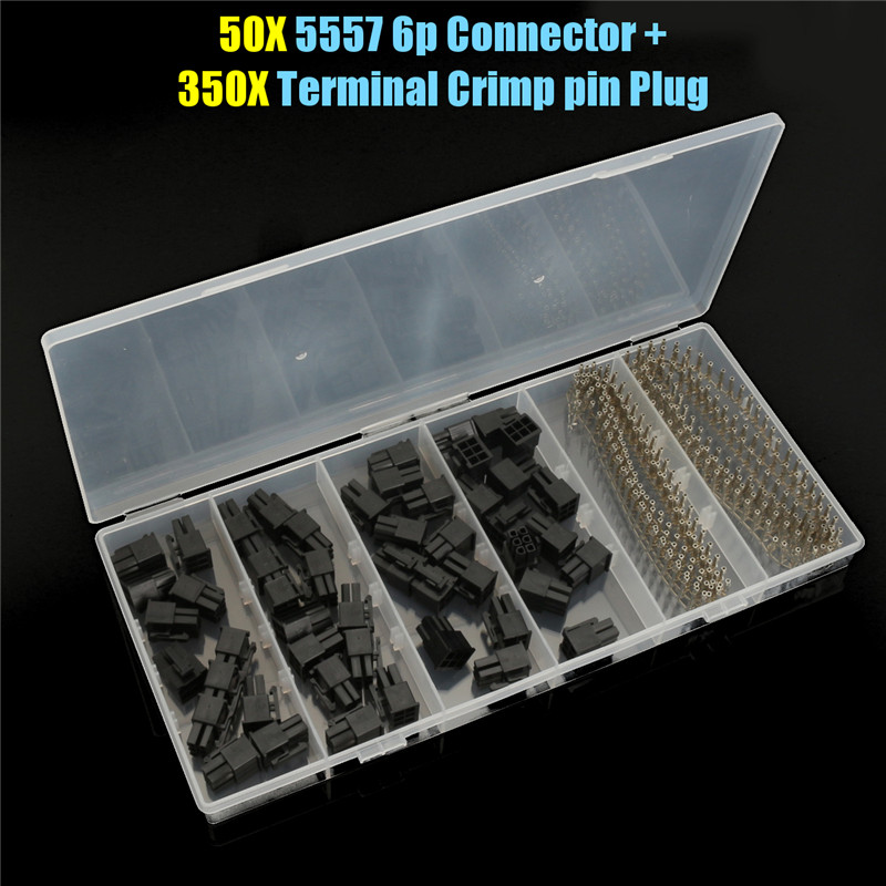 все цены на High Quality 50pcs 6 Pin ATX EPS PCI-E Female Connector 5557 + 300pcs Terminal Crimp Pin Plug онлайн