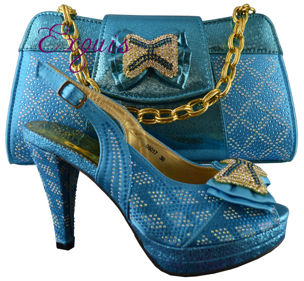 ФОТО Free Shipping summer newest lady shoes high heels Elegant Italian Shoes and Bag Set for wedding or party, blue size 38-42 B8017