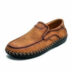 Image 4 - حجم كبير 46 مريحة حذاء رجالي جودة انقسام الجلود حذاء كاجوال الخريف أحذية من الجلد الرجال حذاء مسطح الأخفاف