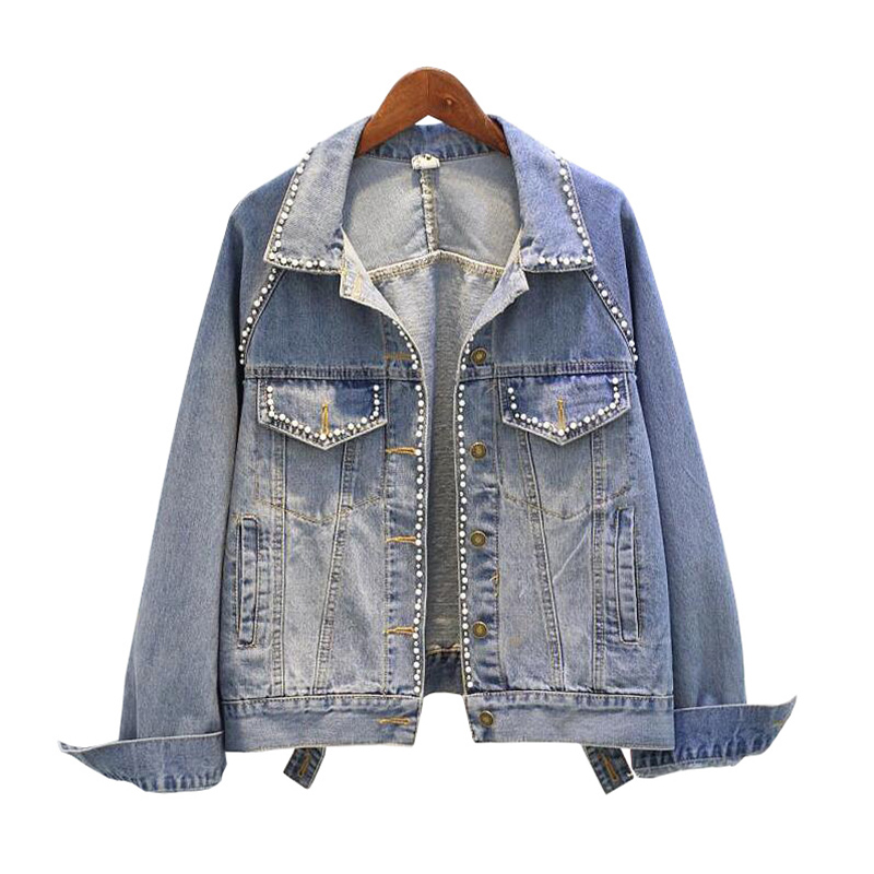 2019 New Spring Denim   Jacket   Women Fashion Beading Washed   Basic     Jackets   Long Sleeve Jeans Coat Female Slim Short Women   Jacket