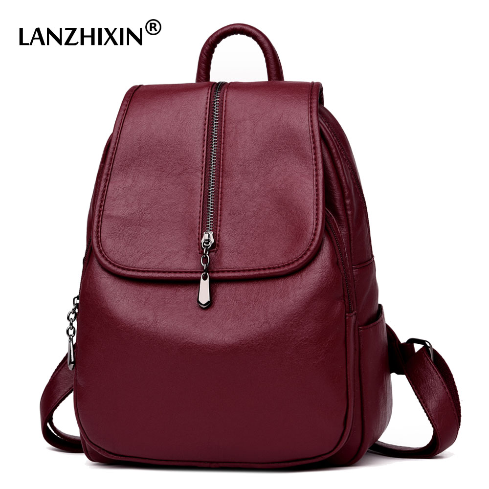 Lanzhixin Women Vintage Backpacks High Quality Leather Backpacks For Teenage Girls Sac A Main Female School