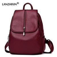 Lanzhixin Women Vintage Backpacks High Quality Leather Backpacks For Teenage Girls Sac A Main Female School