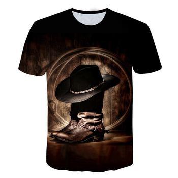 Hot sales Big yards T-shirt New Fashion T-shirt Men/Women Summer 3d Tshirt  Western Cowboy Shoes And Hat Print Tops Tees 4XL 5XL