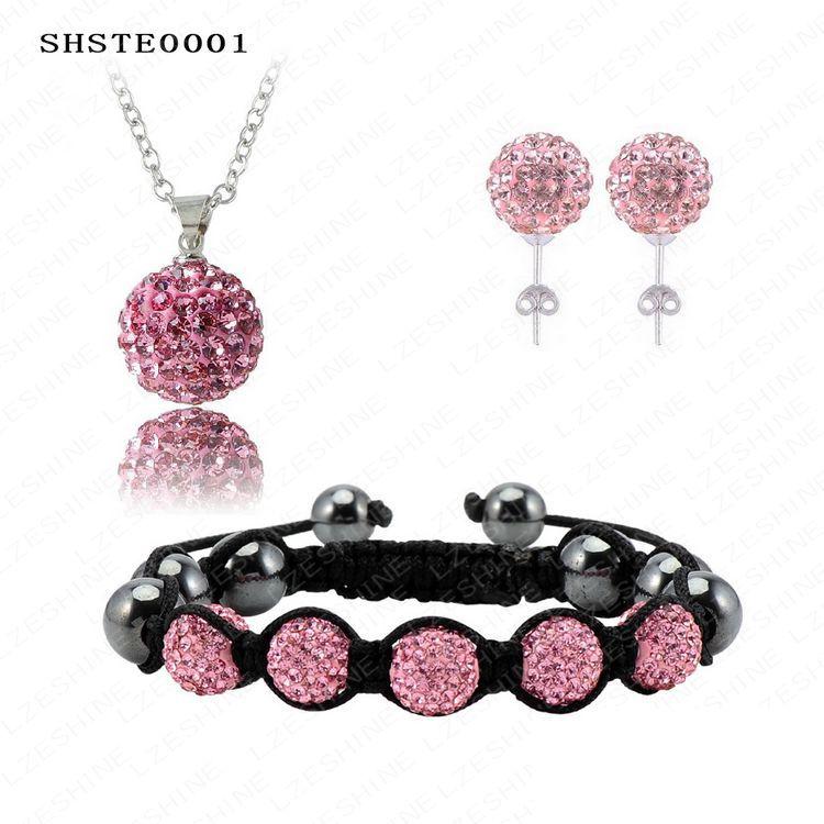 Responsible Elegant Fashion Clay Set 85pcs 85pcs crystal Necklace Pendant/bracelet/ crystal Earring Shambala Set Shstemix1