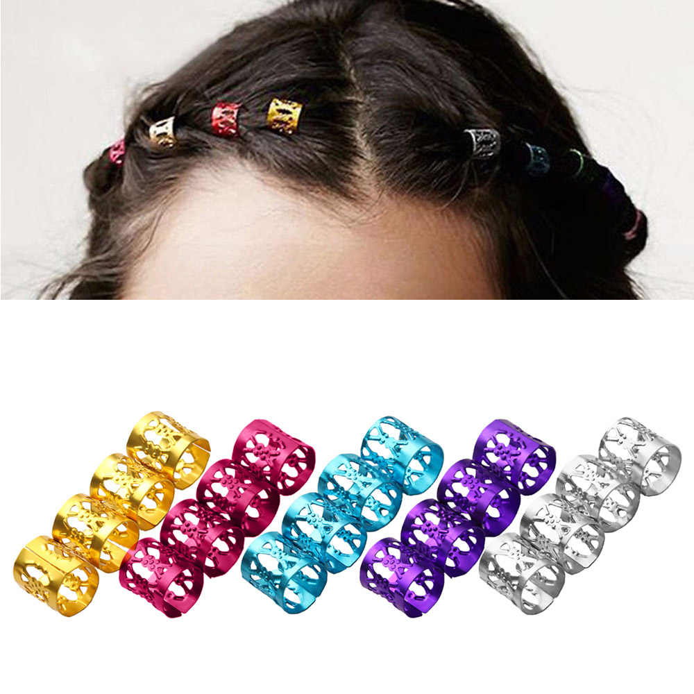 9662a302f81 50Pcs Set Colorful Women Adjustable Braid Hair Ring Beads Hair Braid Rings  Cuff Clips Tube