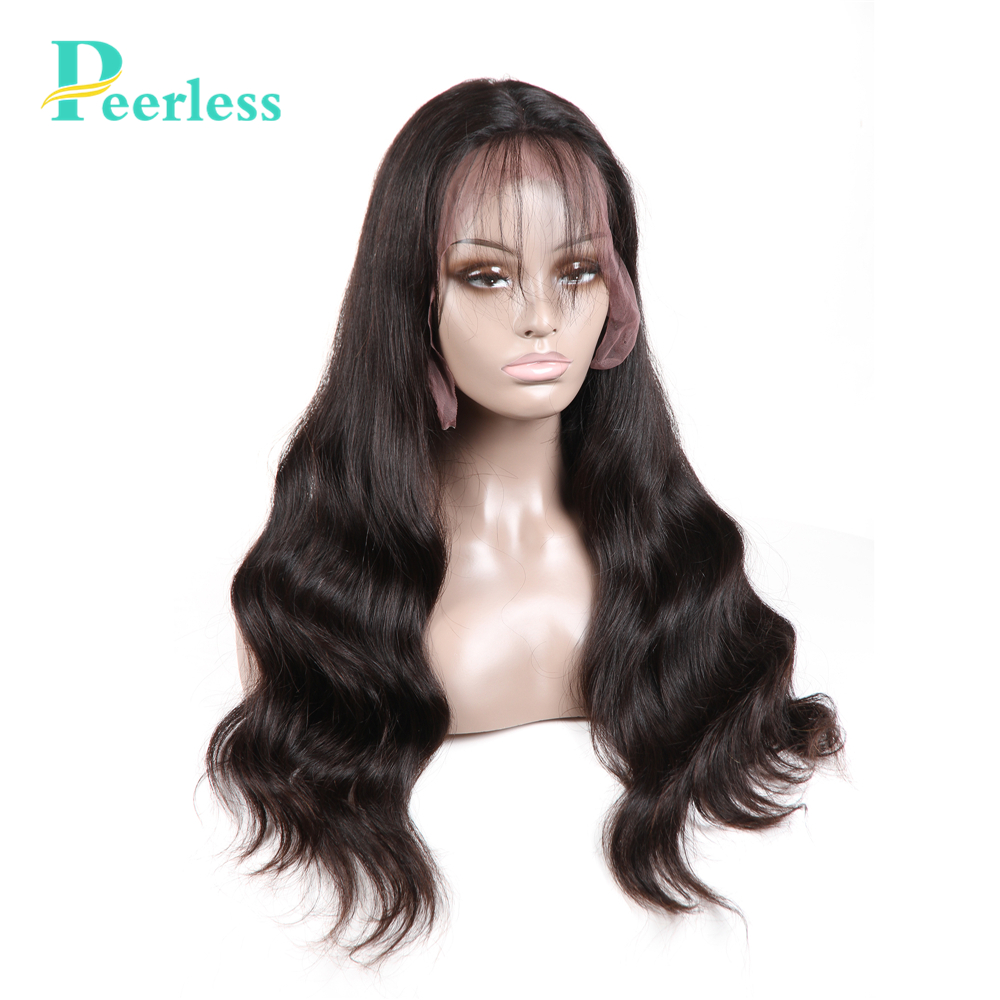 PEERLESS Hair Virgin Hair Lace Front Human Hair Wigs For Women Pre Plucked With Baby Hair Body Wavy Swiss Lace Wigs