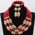 Nueva Moda sistemas de la Joyería de Cuentas de Coral Rojo 16 Colores de La Boda Africana Nupcial/Mujeres Collar de Perlas de Set Envío Libre CJ847