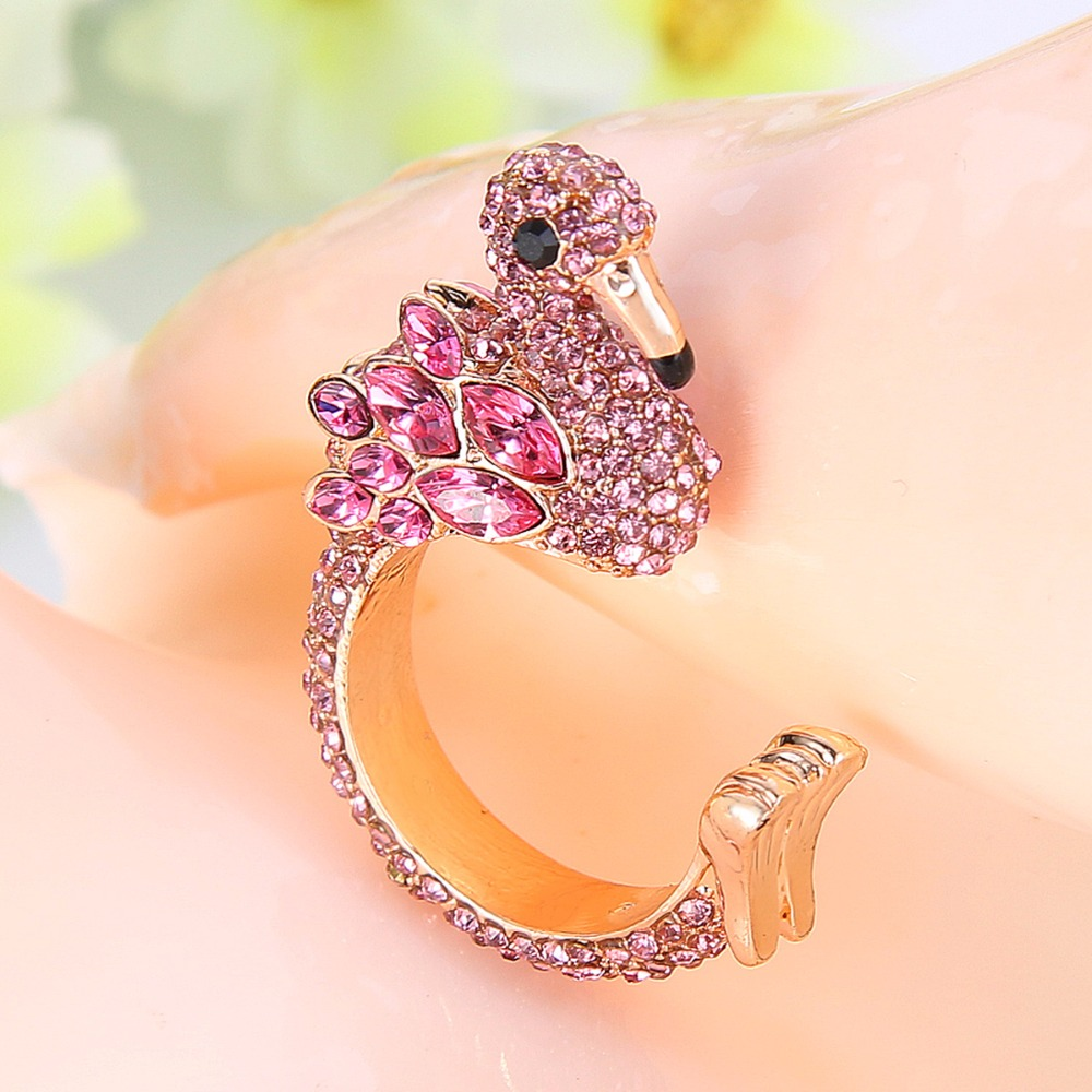 Bella Fashion Sparkling Pink Flamingo Animal Party Ring Austrian Crystal Rhinestone Open Ring For Party Jewelry Size 5/6/7/8/9 ring bella rosa ring page 1