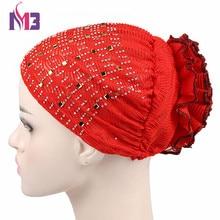 New Fashion Women Bandanas Turban Bonnet Beanie Hat Chemo Headwear Diamond Turban Hat Muslim Hijab Islamic Mesh Insert Turbante цена в Москве и Питере