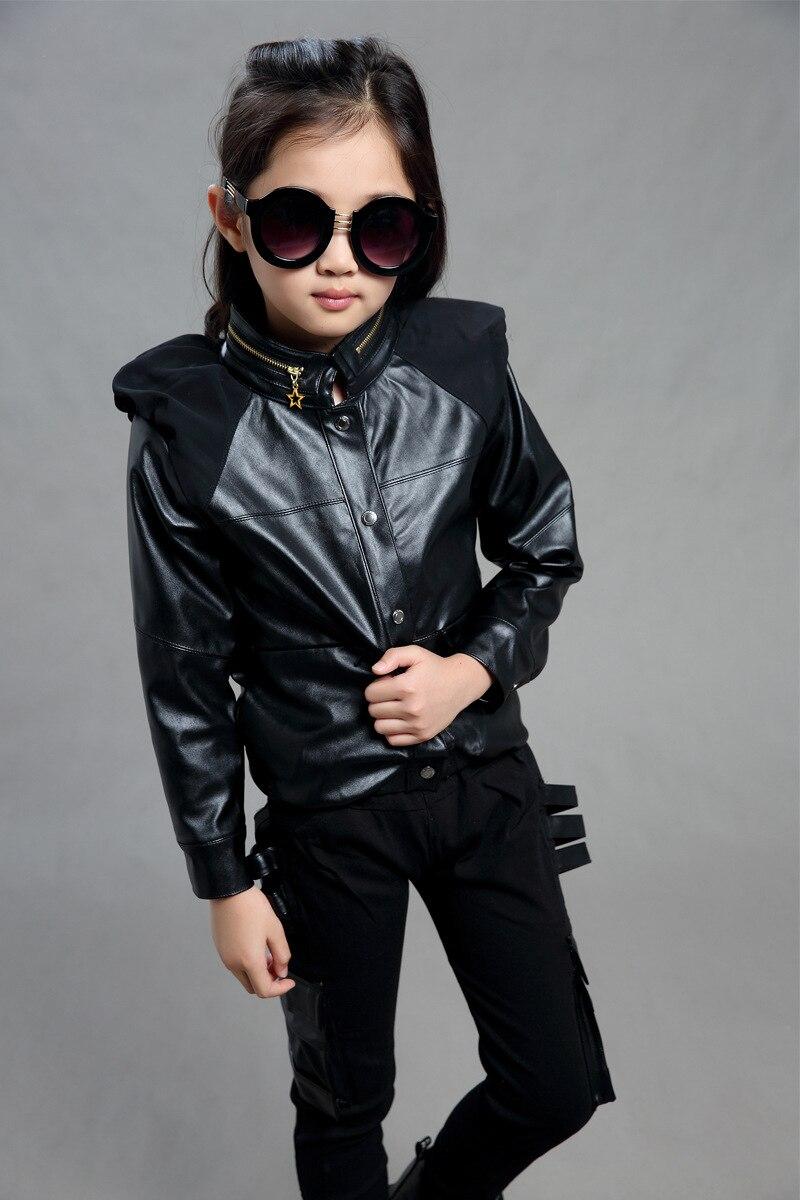 Fashion Girls Pu киім жиынтығы қара қызыл түс - Балалар киімі - фото 4