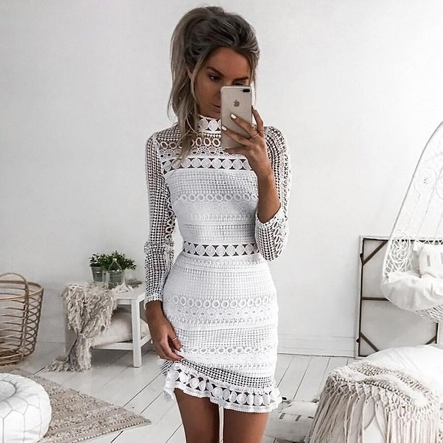 LoneLinecc retro mujer calado blanco encaje ajustado vestido de manga larga cuello alto primavera y otoño sexy falda de playa