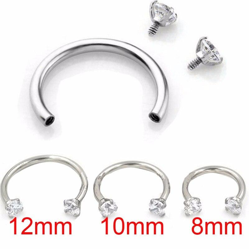 1piece Zircon Internally Threaded Hoop Nose Rings Circular