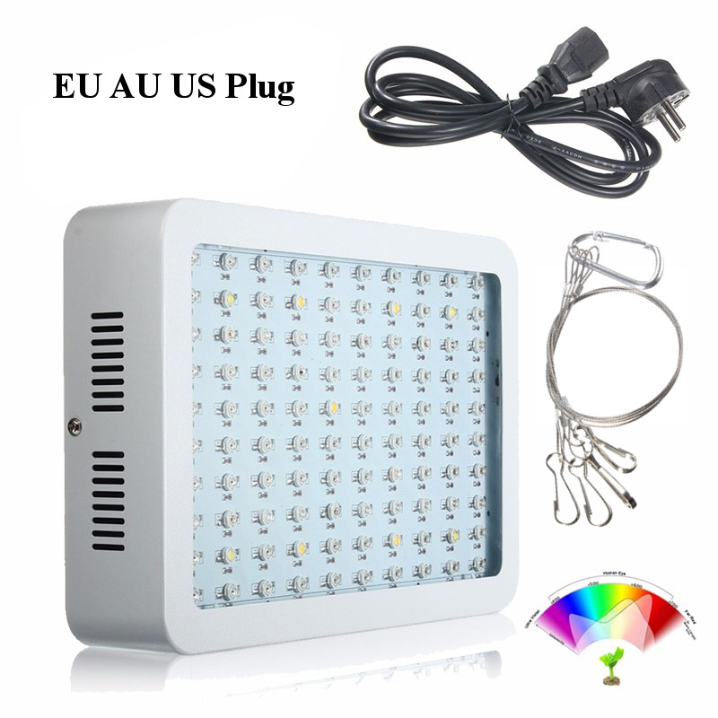 LED Grow Light Lamp 100W Full Spectrum Veg Flower For Hydroponics Indoor Plant Lamp Panel Flower AC85-265V EU AU US Plug 2017 rapunzel cosplay dress children girls long hair princess dress halloween costume clothes kids clothing with sleeves garland