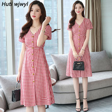 2019 sommer Plus Größe Rot Strand Sommerkleid Plaid Baumwolle Midi Kleider Frauen Elegante Bodycon T-shirt Kleid Party Kurzarm Vestido(China)