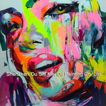 Pretty Women Marilyn Monroe Face Oil Painting Sexy Woman Hand Painted Pop Art Modern Abstract Paintings For Home Decor