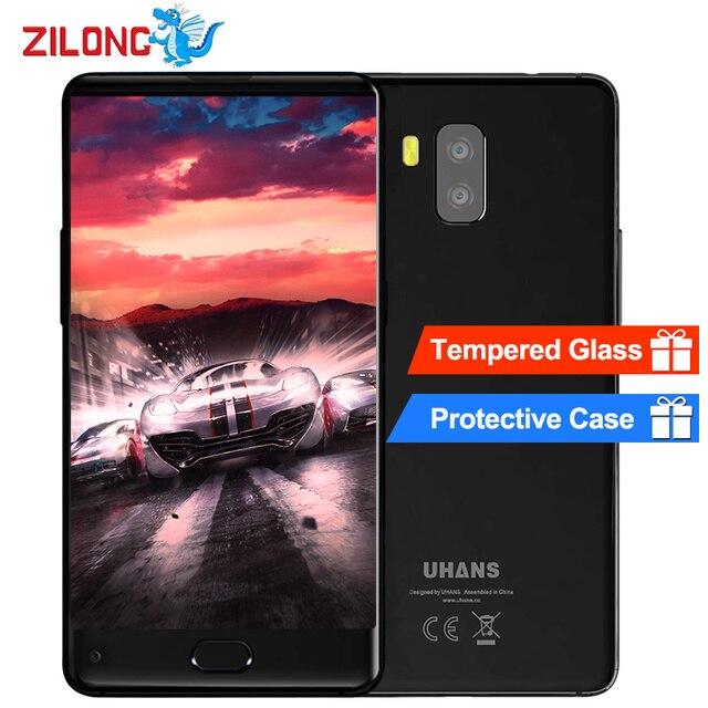 Uhans MX 5.2 дюймов ободок-менее HD Android 7.0 мобильный телефон MTK6580 4 ядра 3000 мАч 2 ГБ Оперативная память 16 ГБ Встроенная память 8MP Touch ID 3 г смартфон