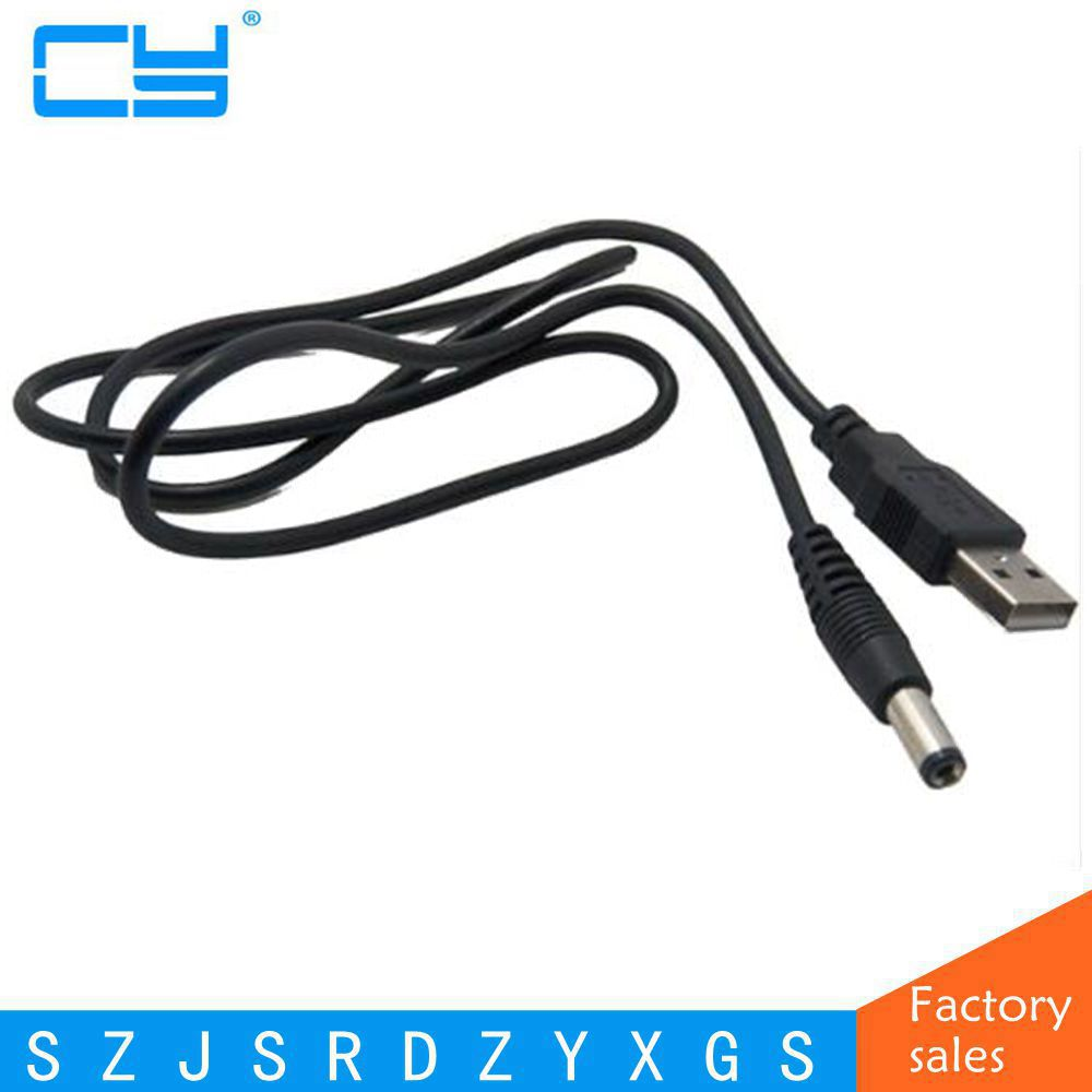 0.8M Barrel Jack Adapter - <font><b>USB</b></font> to <font><b>5.5mm</b></font>, 5V <font><b>USB</b></font> + <font><b>DC</b></font> JACK Cable Wire(5.5x2.1mm) image