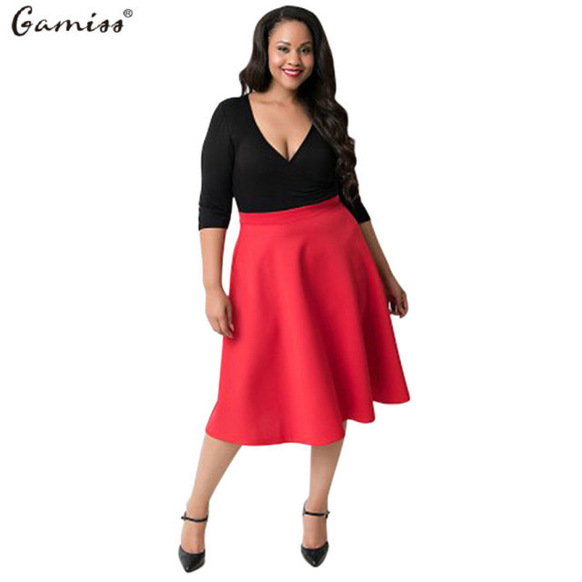 Gamiss 2016 Spring/ Summer Plus Size Dress V Collar Three Quarter ...