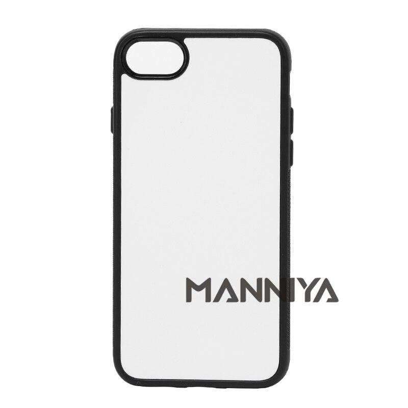 imágenes para MANNIYA 2D Sublimación Blanco caucho de TPU + PC para el iphone 7 con Inserciones de Aluminio y cinta Envío Libre! 100 unids/lote