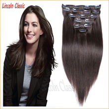 New Top Quality 120g Silky Straight Clip In Human Hair Extensions For Black Women Virgin Peruvian Clip In Human Hair Extensions