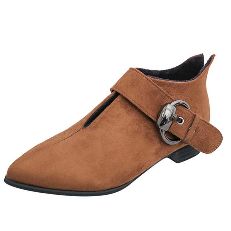 MCCKLE/женские ботильоны; обувь высокого качества; теплые зимние женские ботинки из флока на плоской подошве с острым носком; модные женские ботинки на низком каблуке с пряжкой