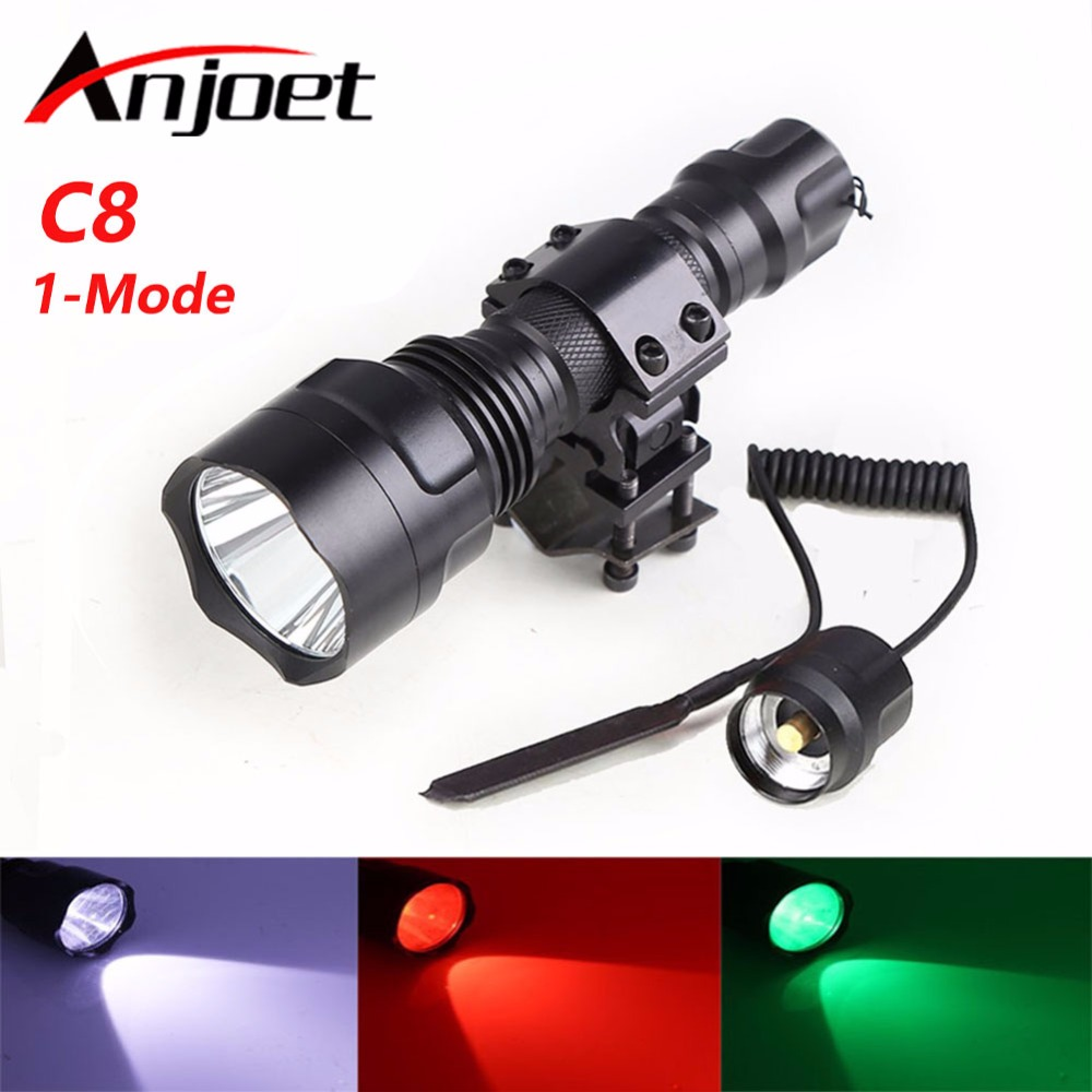 Set Tactical Flashlight White/Green/Red CREE T6 Led Hunting Rifle Torch Lighting+Pressure Switch Mount Hunting Rifle Gun Lamp