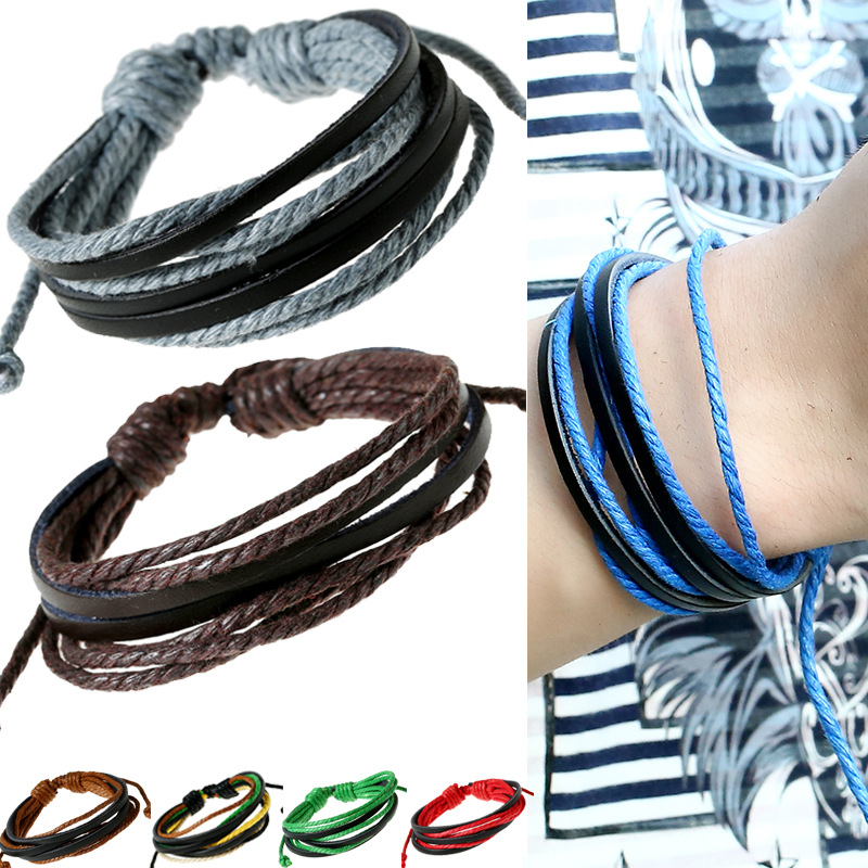 Male Leather Bracelets for Women Men Multi Layers Wax Cord+Cow Leather Casual Bracelets & Bangles Girl Boy Jewelry 14 Colors