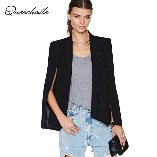 Queechalle Black White Long Sleeve Cape Blazer Coat Women Lapel Split Cloak Cape Jacket Suit Women's Blazer OL Office Workwear