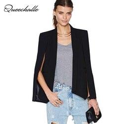 Xs 6 حجم الأزياء عباءة الرأس سترة المرأة معطف الأبيض الأسود التلبيب سبليت كم طويل جيوب الصلبة عارضة سترة عمال