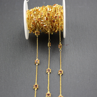 Clear Pink Glass Square Shape Beads Chains,Wire Wapped Golden Plated Fashion Necklace Bracelet Making,6mm