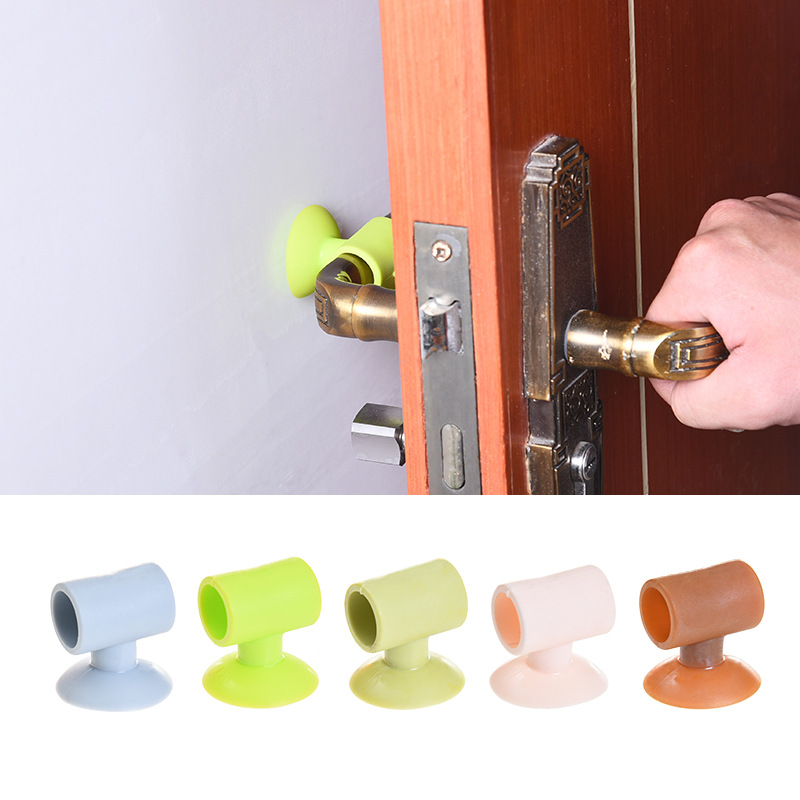 Self Adhesive Silicone Door Handle Knob Crash Pad Wall Protectors Anti Collision Bumper Guard Stopper Stick Baby Safety Sucker