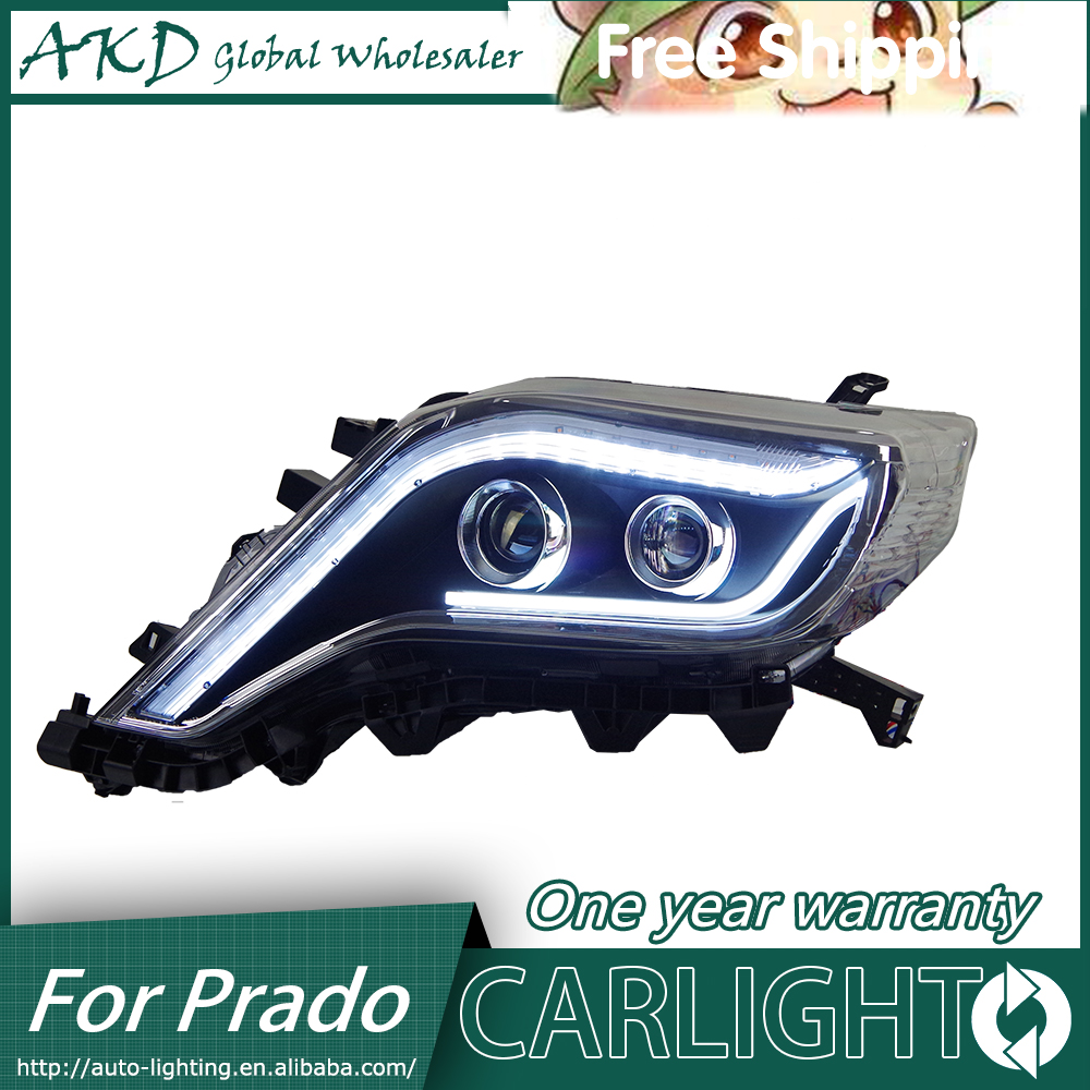 AKD Car Styling for Toyota New Prado Headlights 2014-2015 LC200 LED Headlight DRL Bi Xenon Lens High Low Beam Parking Fog Lamp special car trunk mats for toyota all models corolla camry rav4 auris prius yalis avensis 2014 accessories car styling auto