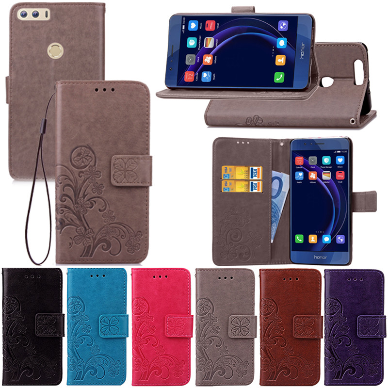 Luxury Leather Wallet Case for Huawei Honor 8 Lucky Clover Design Card Holder Stand Flip Phone Bags Cover for Honor 8 PU Fundas