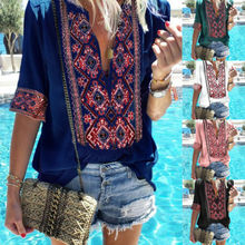 Women Summer Tops Floral Print Shirt Ladies V-Neck Short Sleeves Boho Blouse Loose Shirt Size 4-16