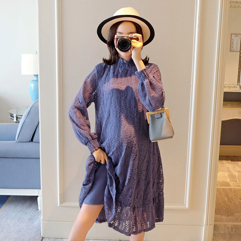 948# Hollow Out Purple Lace Maternity Dress Sweet Autumn Fashion Loose Clothes For Pregnant Women Fall Pregnancy Drop Shipping