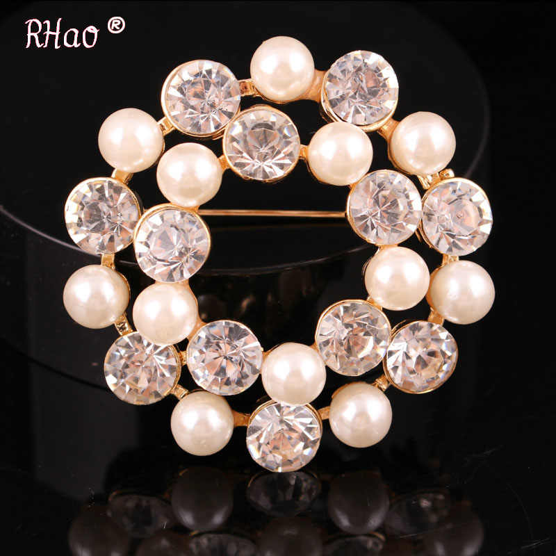 Exquisite Imitation round Cream Pearl Flower Brooches Diamante Rhinestone  Wedding Brooch Pins Gold Color Elegant Women 444d5c3e4724