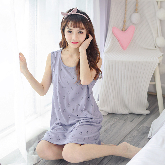 38cc565078 New Arrival Summer Knitted Cotton Women Vest Nightdress Print Round Neck  Casual Sexy Female Nightgowns Indoor Homewear Clothing