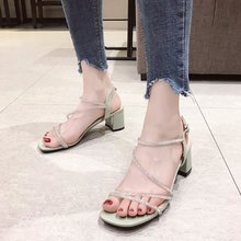 Liren 2019 Summer Fashion Lady Rhinestone Decoration High Heels Sandals Square Open Toe Trapezoid Women Shoes
