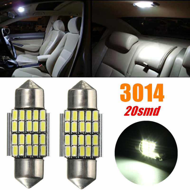 30mm 3014 Chip 120LM 2.3W 20SMD White 6000K Festoon Car Auto LED Map Dome Interior Light Bulbs DC12V Car Styling cawanerl car canbus led package kit 2835 smd white interior dome map cargo license plate light for audi tt tts 8j 2007 2012