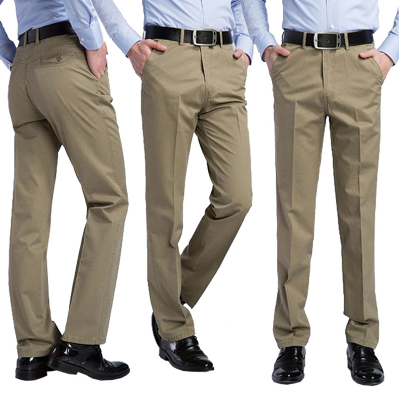 2017 summer new men casual pants men brand pants 100 cotton straight trousers 6 color khaki 2017 summer new men casual pants men brand pants 100% cotton straight trousers 6 color khaki male Trousers Plus Size