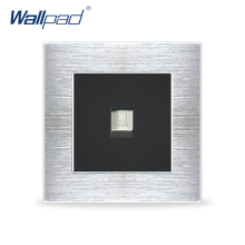 Computer Socket Network Data Sockets Wallpad Luxury Satin Metal Panel Electric Wall Socket Electrical Outlets For Home
