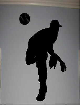 baseball pitcher silhouette boys room wall sticker quote word