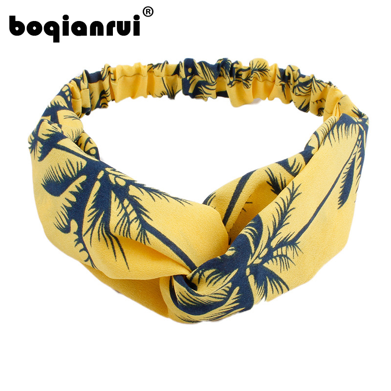 Bohemian Style Elastic Headbands Boho Cross Floral Printed Turban Girls Chiffon Hairbands Striped Headwrap   Headwear
