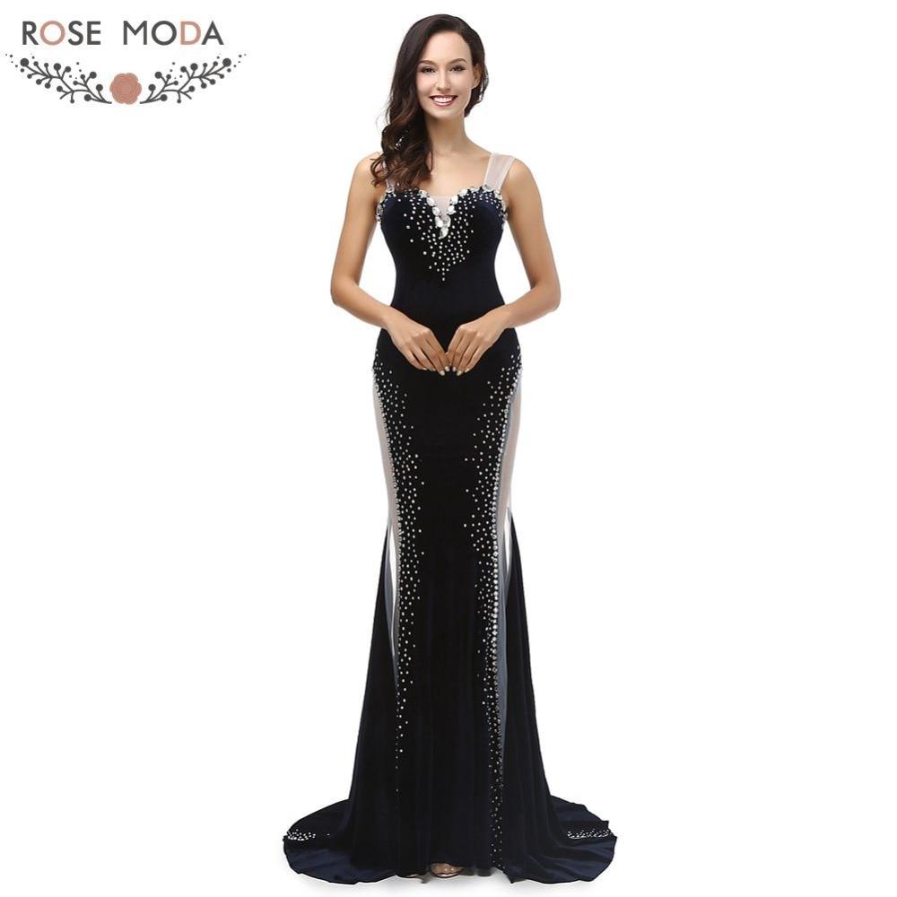 Rose Moda Black Mermaid Evening Dress Floor Length Velvet ...