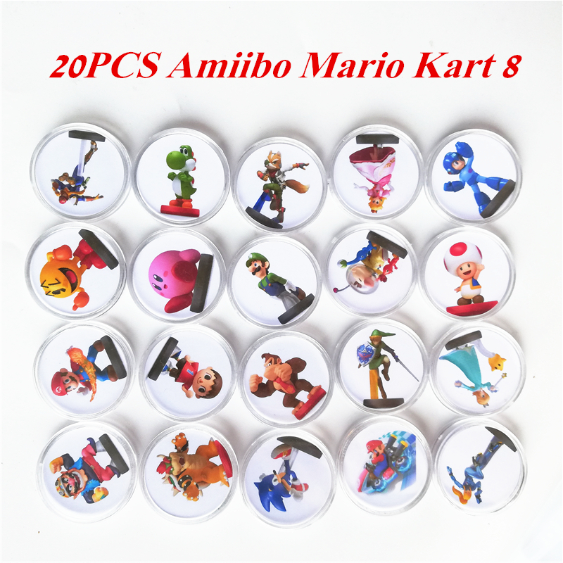 Free Shipping New Data Setting Full Set 20Pcs Mario Kart 8 For Amiibo Game Card Ntag215 Sticker Collection Coin NFC Tag Printed