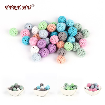 TYRY.HU 10pc/lot Crochet Round Wooden Beads Mix Handmade 16mm ball Can Chew DIY Nursing Jewelry Organic Teething Bracelet beads