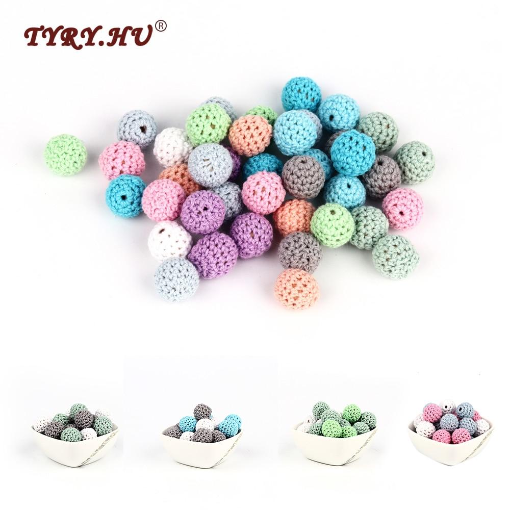 50Pcs Round Crochet Wood Beads DIY Baby Nursing Teething Necklace Jewelry Making