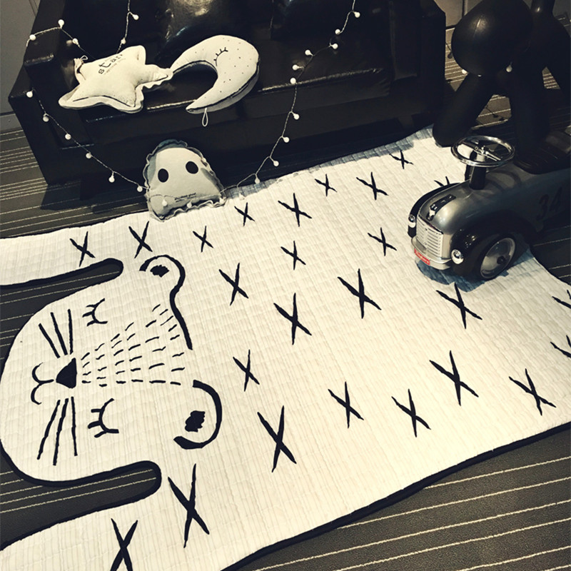 Tiger Printed kids Carpet Imitation Leather Rugs Natural Shape Carpet Decoration Mat Children slip game crawling Mat
