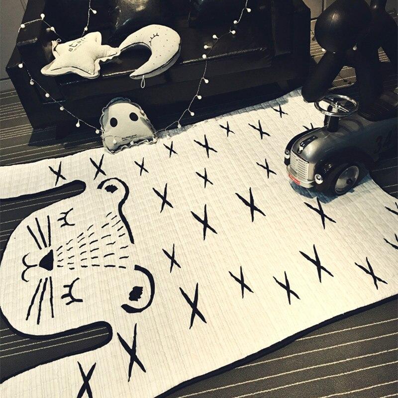 Tigre imprimé enfants tapis Imitation cuir tapis forme naturelle tapis décoration tapis enfants glisser jeu ramper tapis